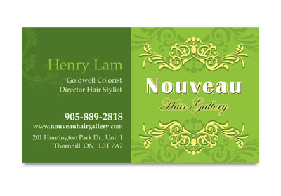 Nouveau Hair Gallery  business card